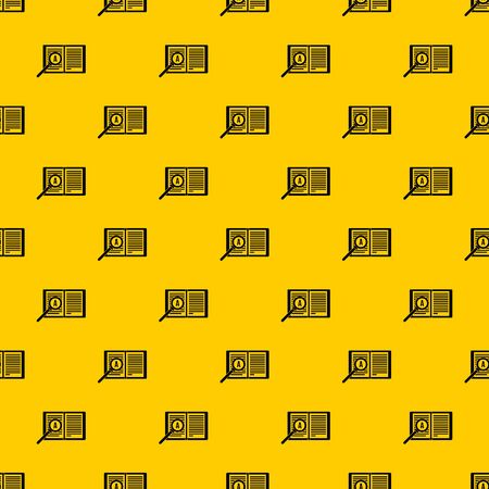 Magnifying glass over open book pattern seamless vector repeat geometric yellow for any design