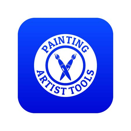 Painting tool brush icon blue vector Illustration