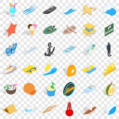 Sailing icons set, isometric style Illustration