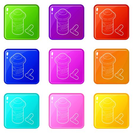 Pills in jar icons set 9 color collection