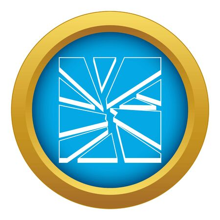 Broken glass icon blue vector isolated