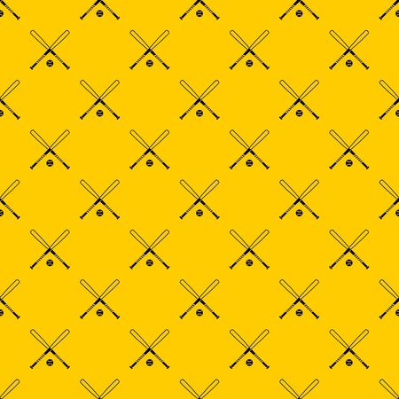 Crossed baseball bats and ball pattern seamless vector repeat geometric yellow for any design Banque d'images - 130246478
