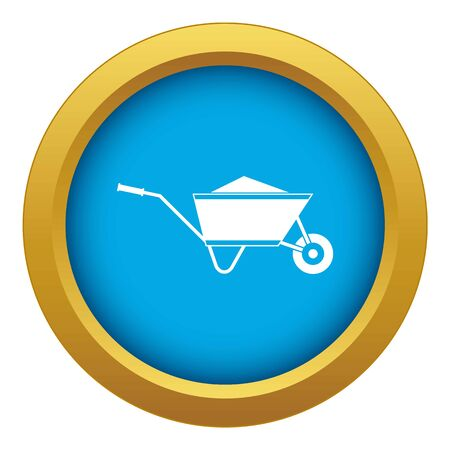 Wheelbarrow with sand icon blue vector isolated on white background for any design