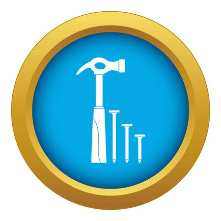 Hammer and nails icon blue vector isolated on white background for any design
