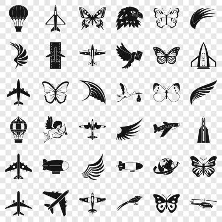Fly icons set, simle style Иллюстрация
