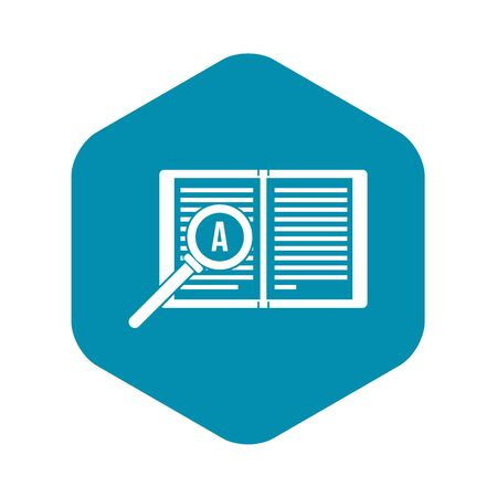 Magnifying glass over open book icon in simple style on a white background vector illustration