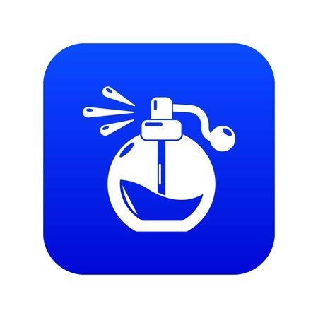 Perfume bottle spray icon blue vector isolated on white background Ilustração