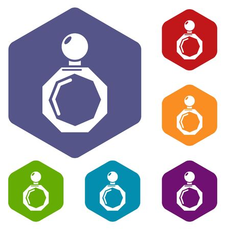 Perfume bottle hexagon icon. Simple illustration of perfume bottle hexagon vector icon for web