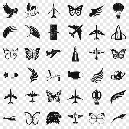 Aerospace icons set, simle style