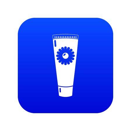 Tube cream icon blue vector isolated on white background