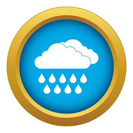 Cloud and rain icon blue vector isolated on white background for any design