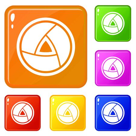 Objective icons set vector color