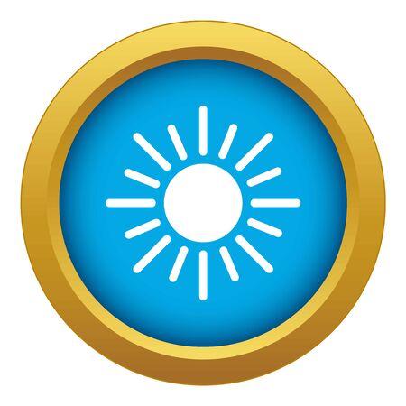 Sun icon blue vector isolated