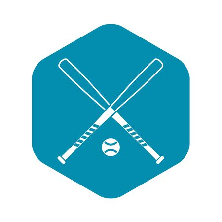 Crossed baseball bats and ball icon in simple style on a white background vector illustration Banque d'images - 130246620