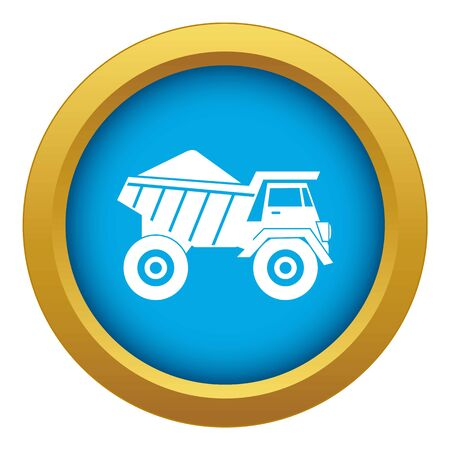 Dump truck with sand icon blue vector isolated on white background for any design