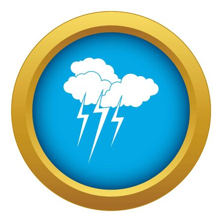 Cloud with lightnings icon blue vector isolated on white background for any design