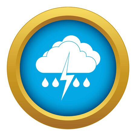 Cloud with lightning and rain icon blue vector isolated on white background for any design