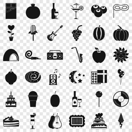 Fruit party icons set. Simple style of 36 fruit party vector icons for web for any design 向量圖像