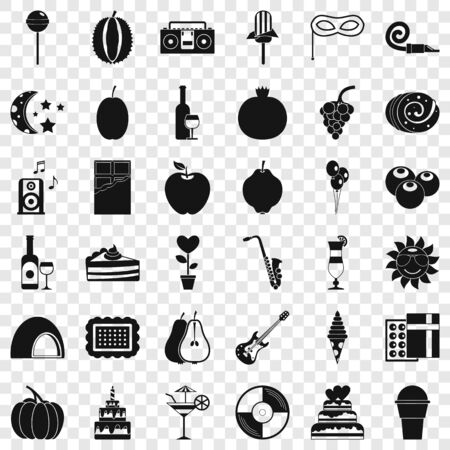 Decoration icons set. Simple style of 36 decoration vector icons for web for any design