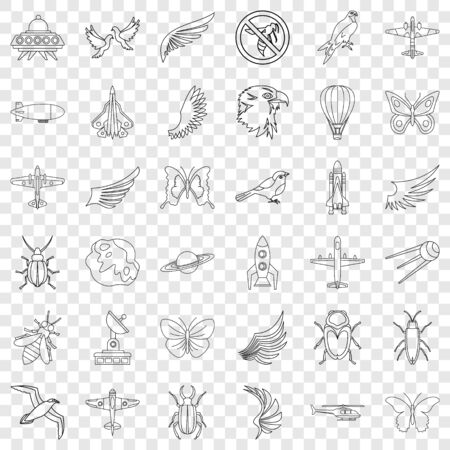 Different transport icons set. Outline style of 36 different transport vector icons for web for any design