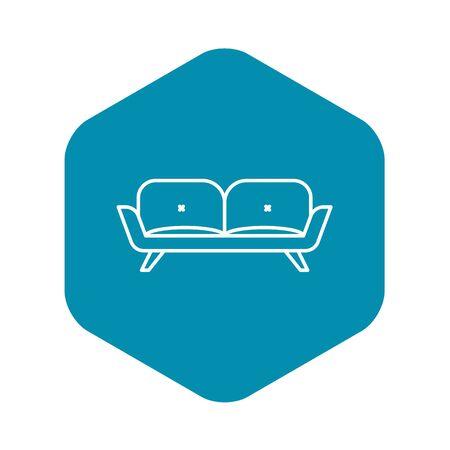 Divan sofa icon. Outline divan sofa vector icon for web design isolated on white background