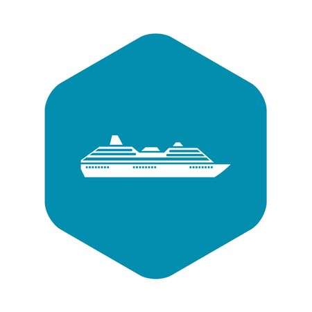Cruise ship icon in simple style on a white background vector illustration Illustration