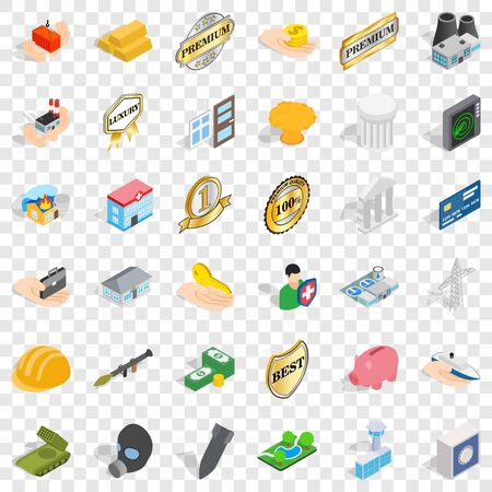 Corporate icons set. Isometric style of 36 corporate vector icons for web for any design Ilustração