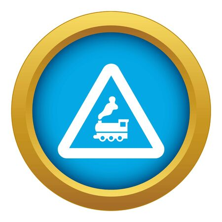 Warning sign railway crossing without barrier icon blue vector isolated