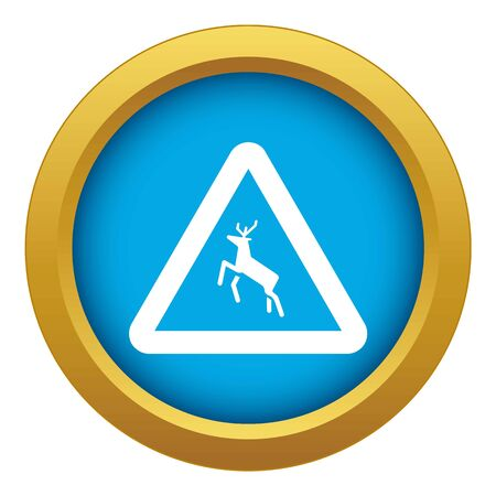 Deer traffic warning sign icon blue vector isolated