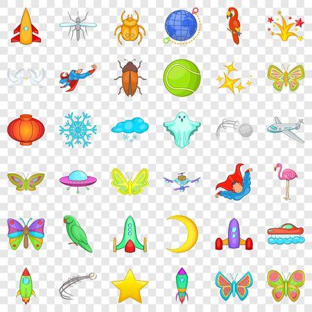 Moon icons set, cartoon style