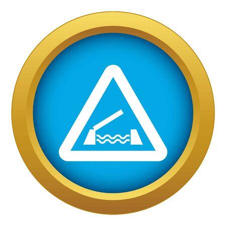 Lifting bridge warning sign icon blue vector isolated