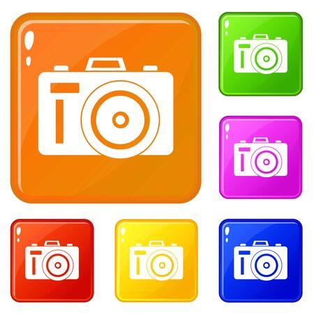 Photocamera icons set vector color  イラスト・ベクター素材