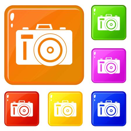 Photocamera icons set vector color Illustration