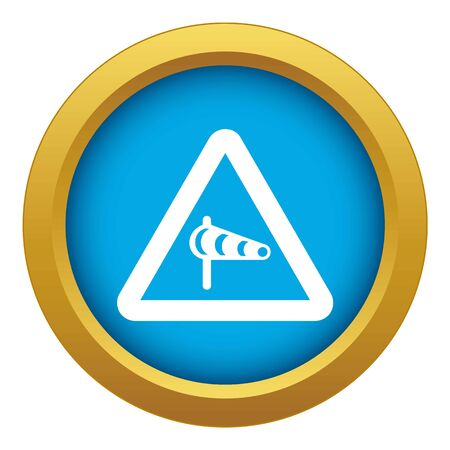 Sign warning about cross wind from the left icon blue vector isolated