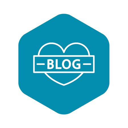 Like heart blog icon, outline style Banque d'images - 124937783