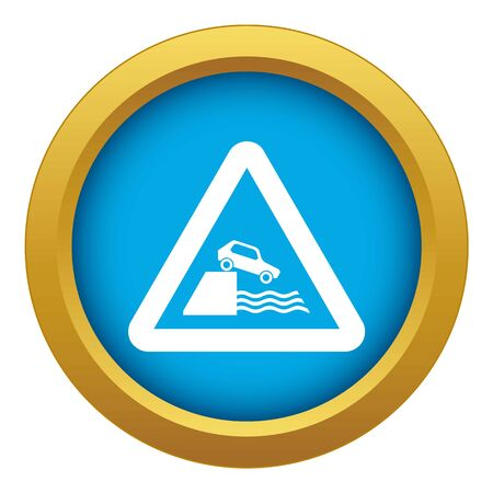 Riverbank traffic sign icon blue vector isolated
