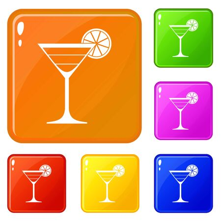 Cocktail icons set vector color