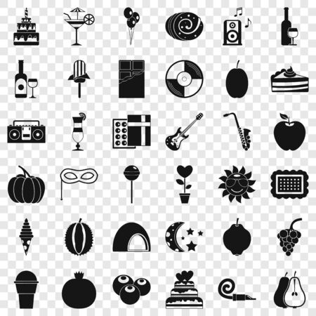 Music party icons set, simple style