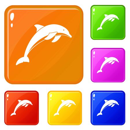 Dolphin icons set vector color 일러스트