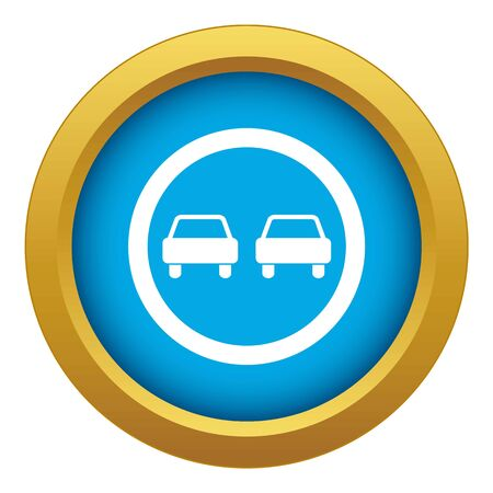 No overtaking road traffic sign icon blue vector isolated on white background for any design
