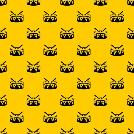 Drum and drumsticks pattern seamless vector repeat geometric yellow for any design