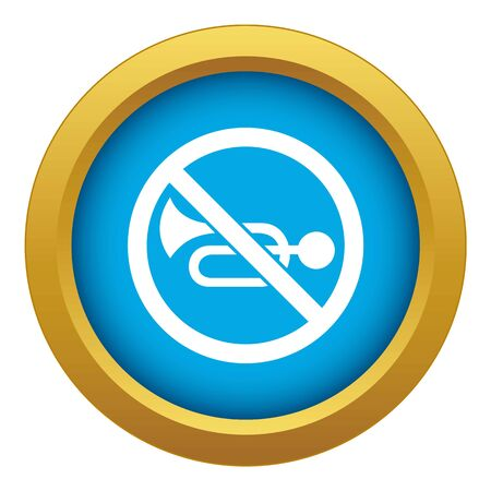 No horn traffic sign icon blue vector isolated on white background for any design