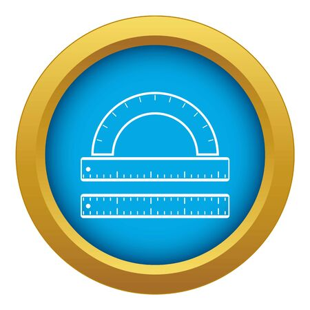 Ruler and protractor icon blue vector isolated on white background for any design
