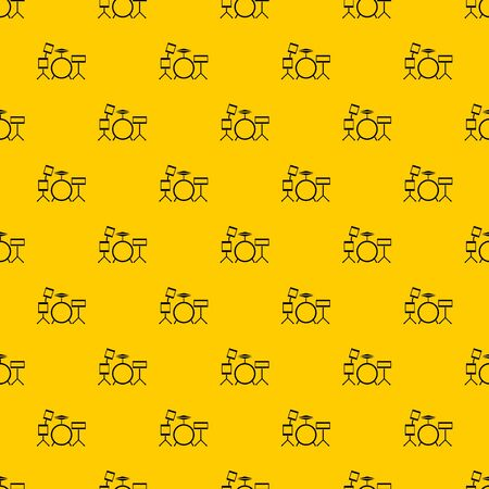 Drum kit pattern seamless vector repeat geometric yellow for any design Illustration