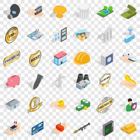 Building icons set, isometric style Ilustração
