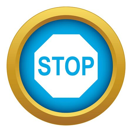 Stop sign icon blue vector isolated on white background for any design