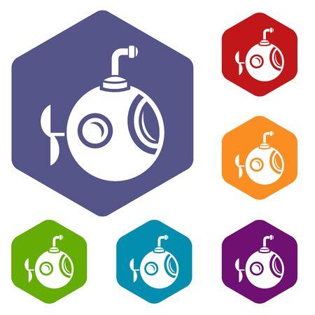 Round bathyscaphe icon, simple style.