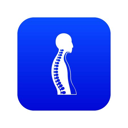 Human spine icon digital blue Illustration