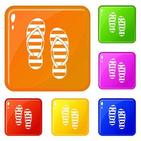 Flip flop icons set vector color