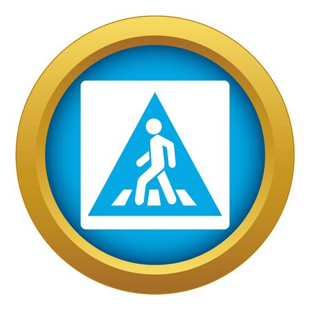 Pedestrian road sign icon blue vector isolated on white background for any design